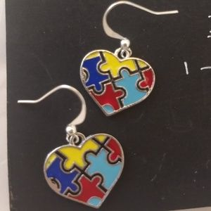 2@$20-Autism Support Heart Puzzle Earrings